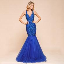 Настоящая фотография, новинка, королевское синее платье русалки для выпускного вечера, 2020 v-образный вырез, без рукавов, блестящее, с блестка...(Китай)