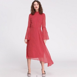 Polka Dot Women Elegant Bell Long Sleeved Red Casual Midi Dresses
