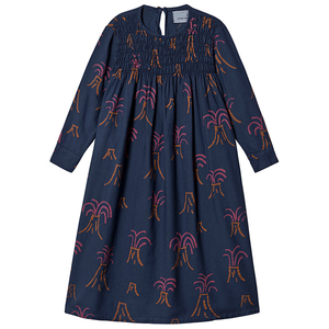 Wholesale Kids Clothing Navy Blue Cotton Smocked Neckline Long Sleeve Maxi Dress For Girls