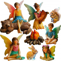 Polyresin/resin fairies figurines Fairy Garden - Miniature Fairies Figurines Accessories - Camping Kit of 9 pcs Set for Outdoor