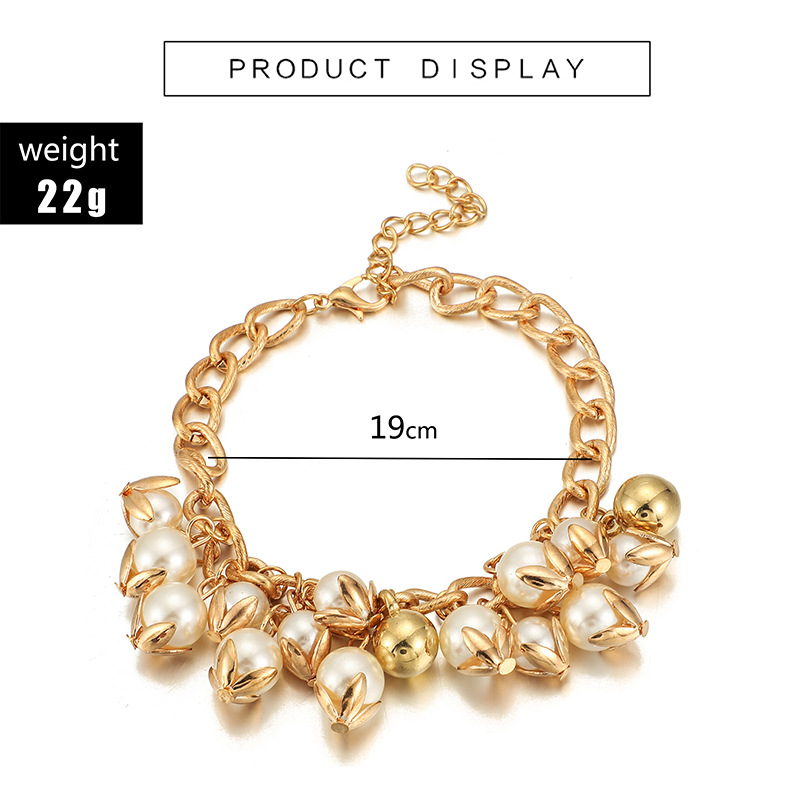 Wholesale Bohemia Women Ethnic Alloy Chain Pearl Bracelet Jewelry Accessories for women girls