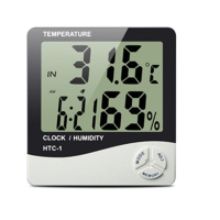 Indoor Digital Temperature Humidity Meter Clock HTC-1 for home weather station multi-funcation