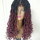 20inch goddess faux loc lace front synthetic wig ombre color hand made crochet women braided wigs
