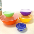 Customize striped color 6-piece plastic mixing salad bowl with lid set