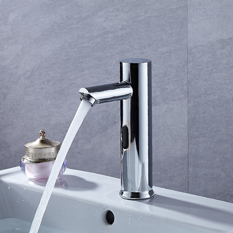 Deck mounted chrome basin sensor water tap single hole water saving touchless water faucet automatic faucet