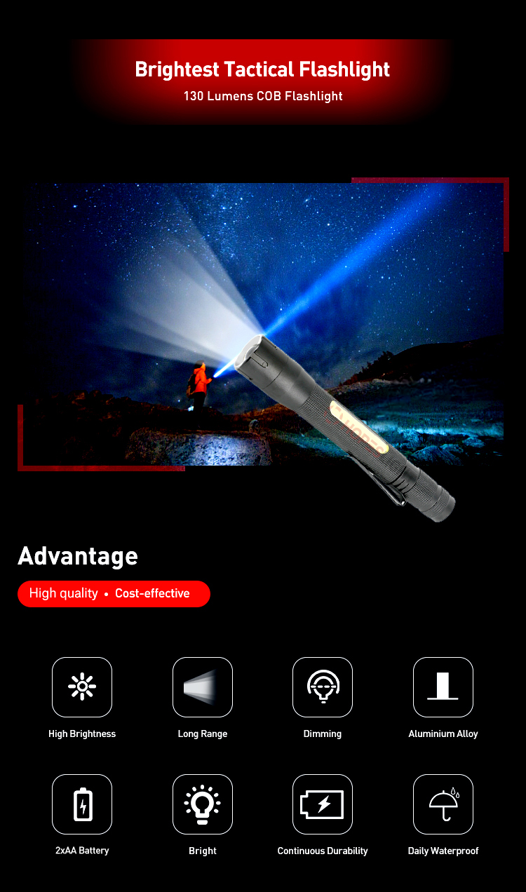2 Modes Outdoor Lightweight Handheld Pen Clip EDC COB LED Torch light