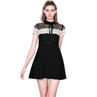 Wholesale In Stock Women Fashion New Design Turn Down Collar Short Sleeve Color Block A Line Crochet Mini Lace Dress