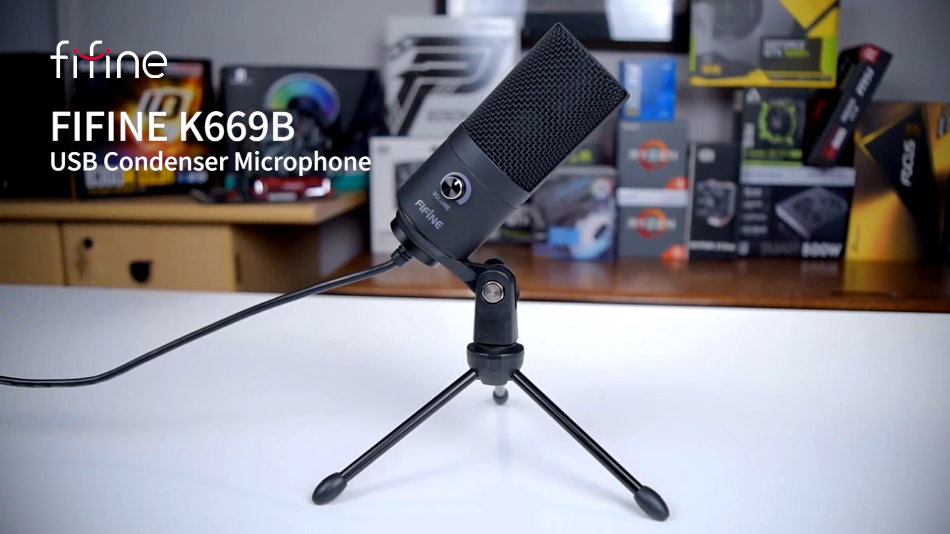 Fifine home studio de gravação microfone condensador USB microfone
