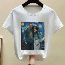 Забавная мягкая одежда Mona Lisa для девочек; Эстетическая одежда с аниме; Летняя одежда для женщин; Белый Топ; Летняя уличная одежда(China)