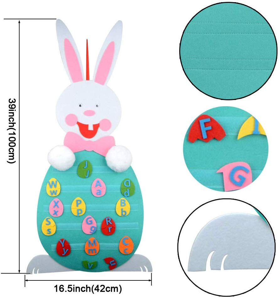 2020 Happy Easter DIY Felt Bunny Detachable Alphabet Animal Easter Eggshell Decoration Set