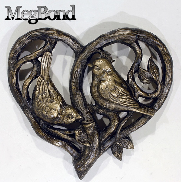 Resin statue love birds 3d wall decor for living room