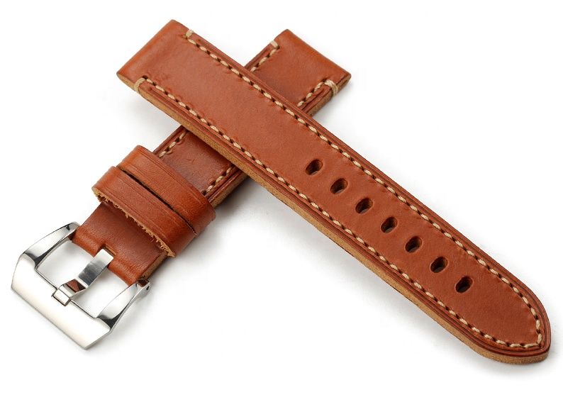 Buy One Get One free 20mm 22mm Vintage Flat Leather Watch Strap Pre-v Buckle Watch Band