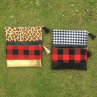 Wholesale monogram women Christmas buffalo plaid leopard cheetah makeup cosmetic bag