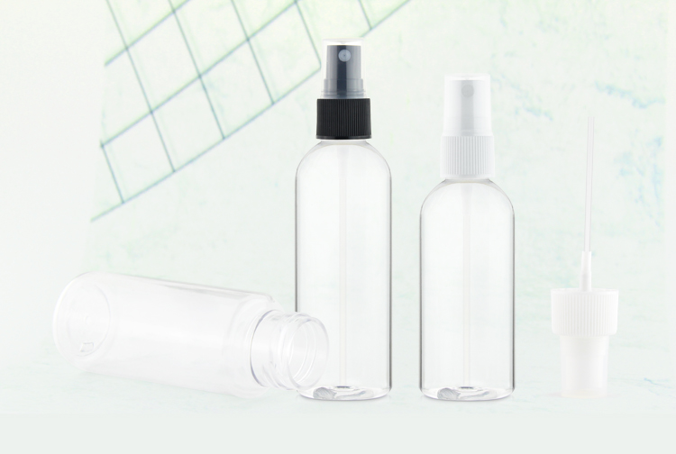 High quality 60ml clear plastic pet plastic airless cosmetic pump bottle with colorful cap