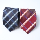 Fashion accessory personalized red stripe silk custom tie set for business