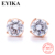 4 claws prong 925 sterling silver earrings birth stone 6mm real silver cz white round fashion stud earrings jewelry for women