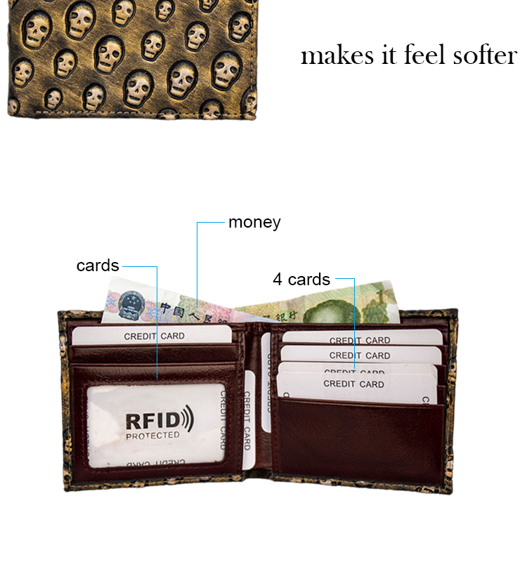 Roneer OEM short genuine leather credit card holder hot RFID blocking skull wallet