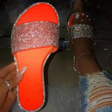 Блестящие женские сандалии-шлепанцы; Летняя модная женская обувь ярких цветов; Шлепанцы со стразами; Женские Вьетнамки; Femme Pantoufles Claquette(Китай)