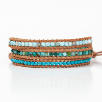 Turquoise Collection Mix Wrap Bracelet On Natural Brown Leather