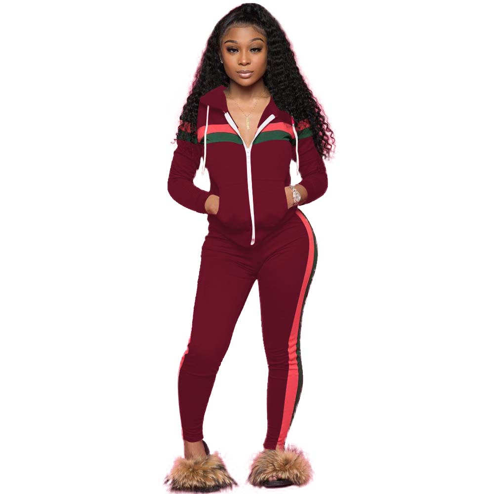 MVL9003 casual patch hooded top and pencil pants two piece set women clothing