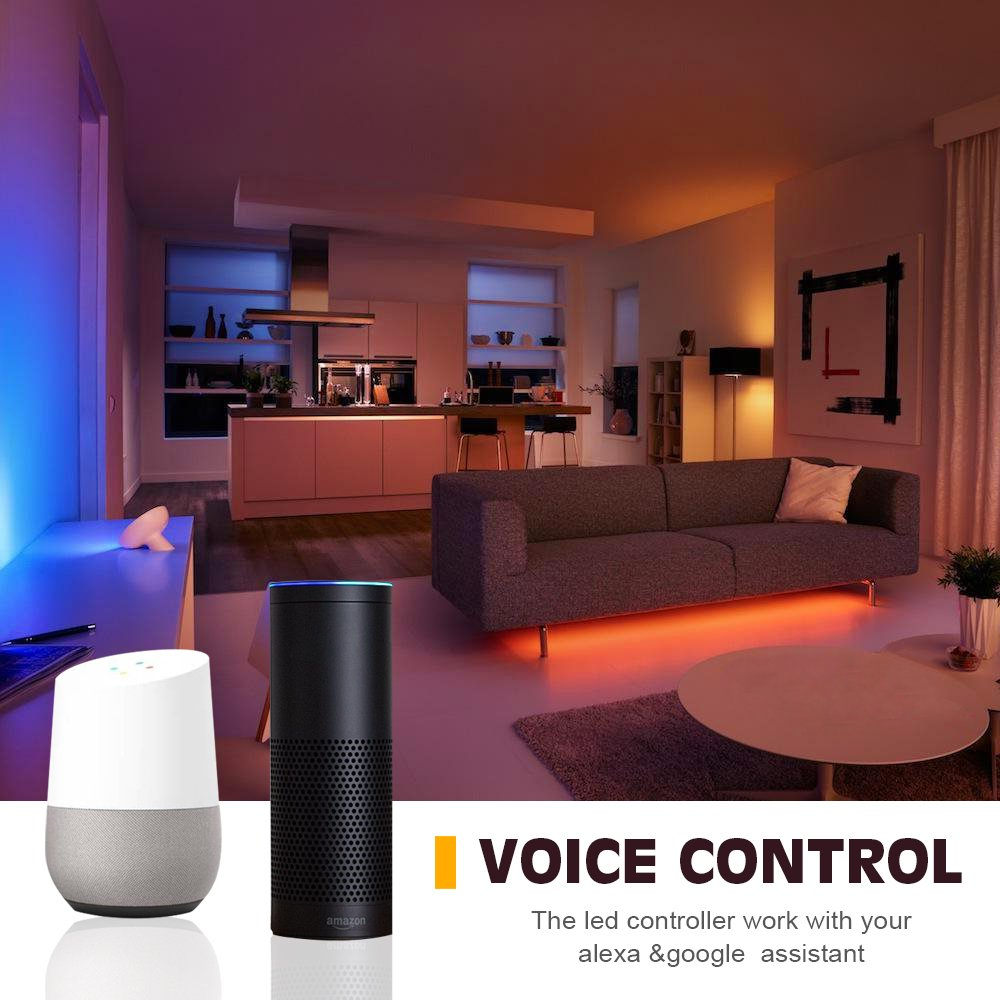 2020 Hot sell IR remote smart WiFi APP google assistant Amazon Alexa sound sync music control RGB led controller