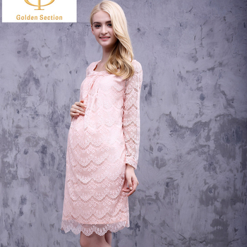 Latest Design Pregnant Women Maternity Dresses Square Neck Long Sleeve Full Lace Dress Buy Prenant Women Dresssquare Neck Dressfull Lace Dress