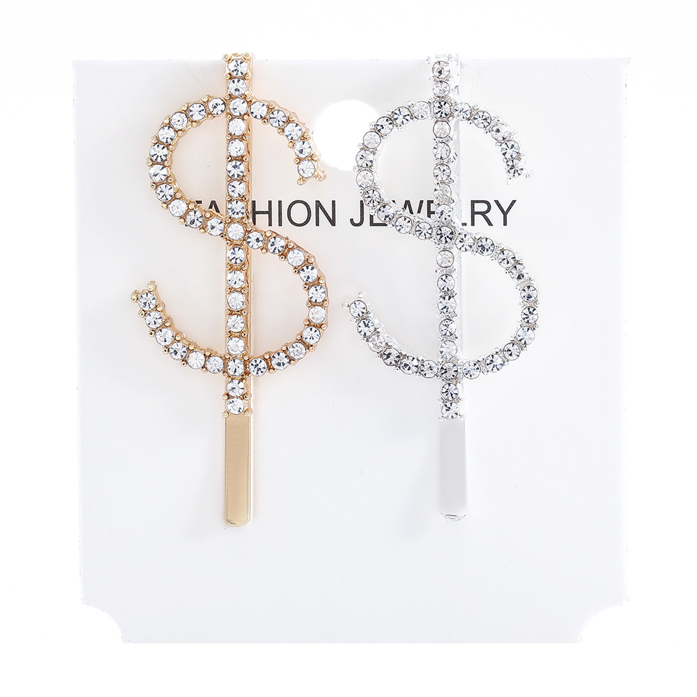 Letter  bobby pin for women crystal alphabet hair clip rhinestone gold Word Hair Pin