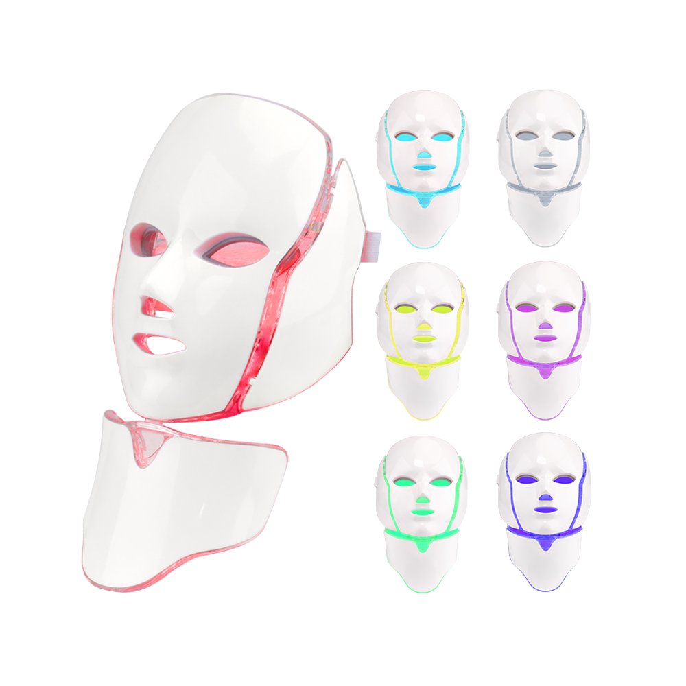 Red light therapy PDT Beauty Therapy 7 colors LED Mask with Neck