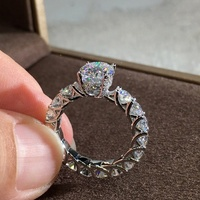 Luxury Wedding Engagement Promise Ring for Women Ring with Zircon Crystal Jewelry Gifts
