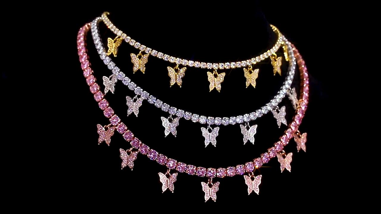 KRKC Wholesale Women Dainty Stainless Steel CZ Diamond Butterfly Choker Jewelry Silver Pink Rose Gold Plated Butterfly Necklace