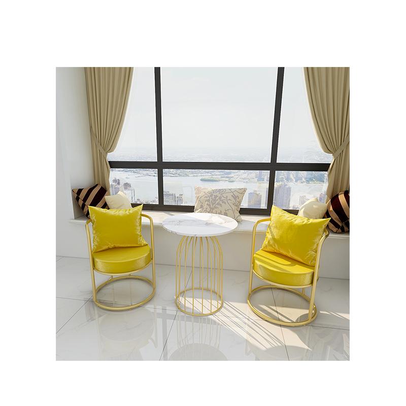 Silla de comedor sillas de Metal de banquete de la sala de estar moderna tela Metal café al aire libre sillas de Metal