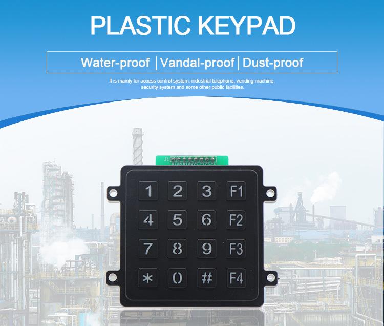 Backlight 4x4 numeric plastic access control keypad with LED