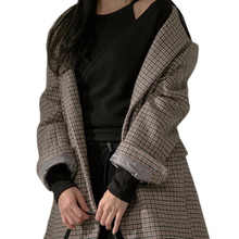 Professional custom 2020 fashion casual plaid ladies suit jacket for women long clothing