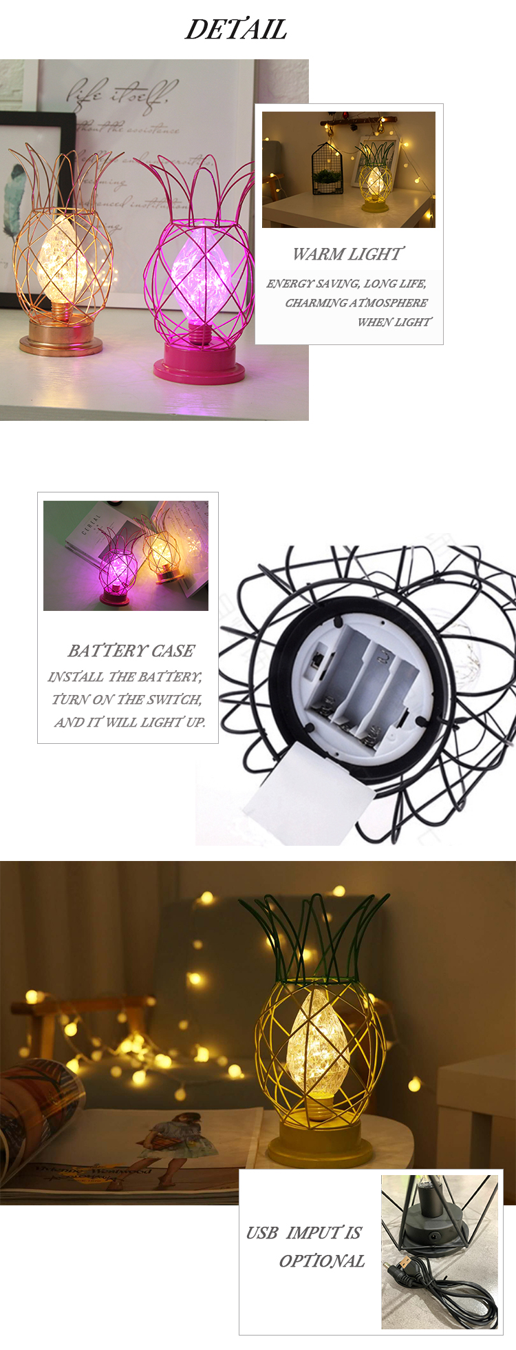 Wrought Iron Decoration LED Bulb Night Light Battery Powered Metal Table Lamp Night Lamp For Home Club Bar Decoration
