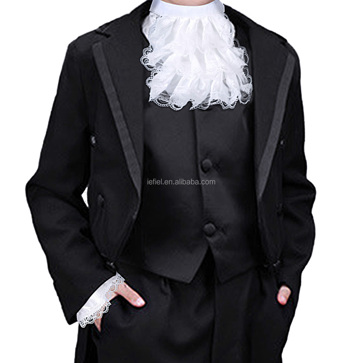 3Pc Steampunk Kid//Adult Victorian Lace Satin Jabot/&Cuffs Set Stage Party Costume