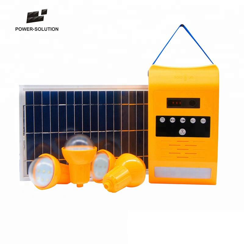 Portable Mini 8 W <strong>11</strong> <strong>V</strong> Off Grid Solar Lighting Kits with Radio For Indoor Outdoor Lighting