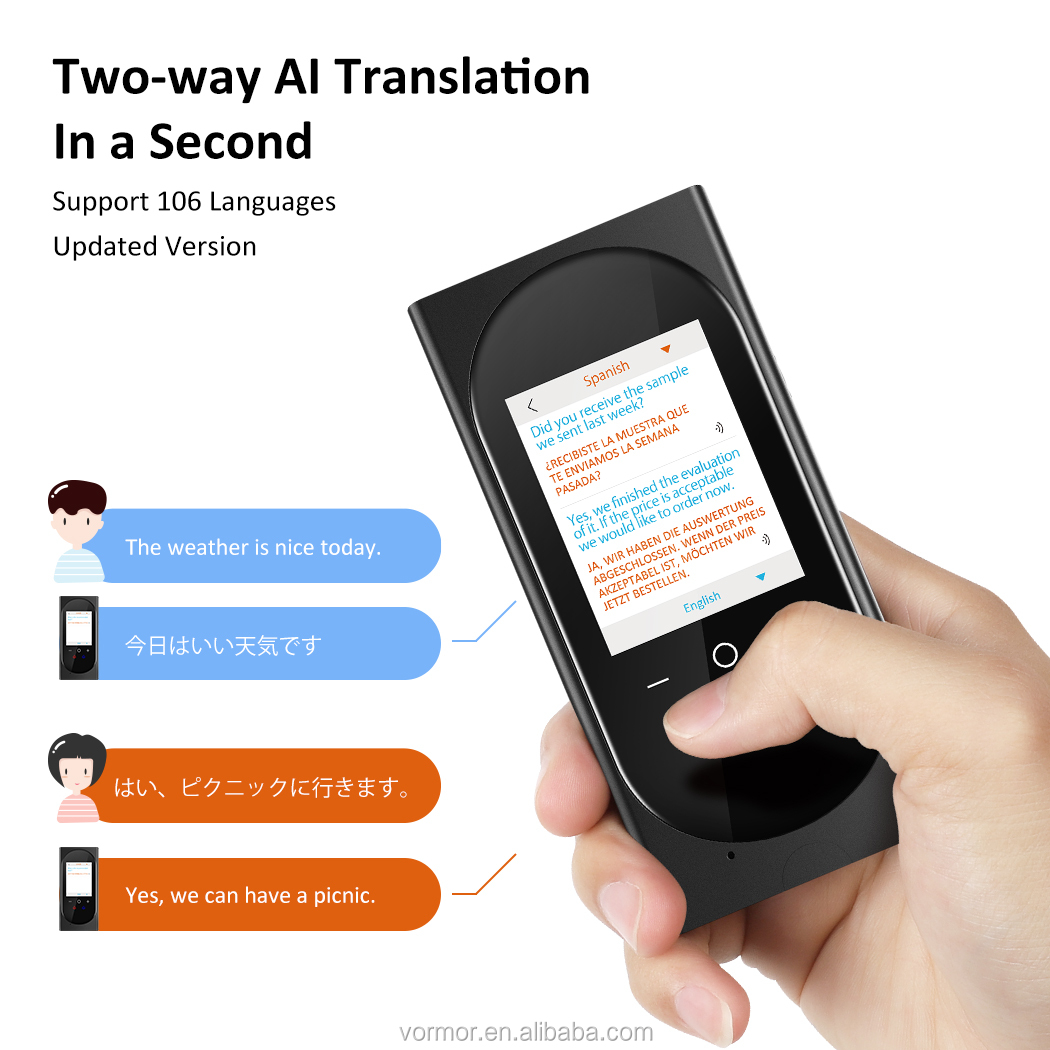 Vormor T10 2.4'' Smart Voice Translator 0.1 Fast speed OEM/ODM Wifi Instant Voice Translator