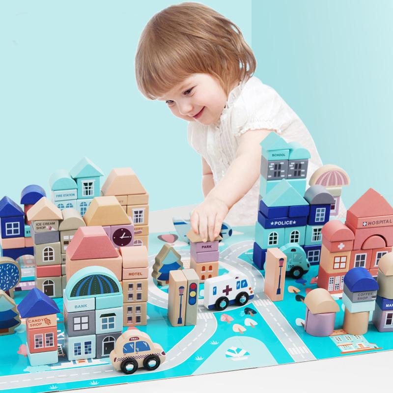 54pcs impressão Animais Mini DIY Educação infantil Crianças jogo Jenga Tumbling Torre do Enigma crianças brinquedos de Aprendizagem em Preto Brilhante