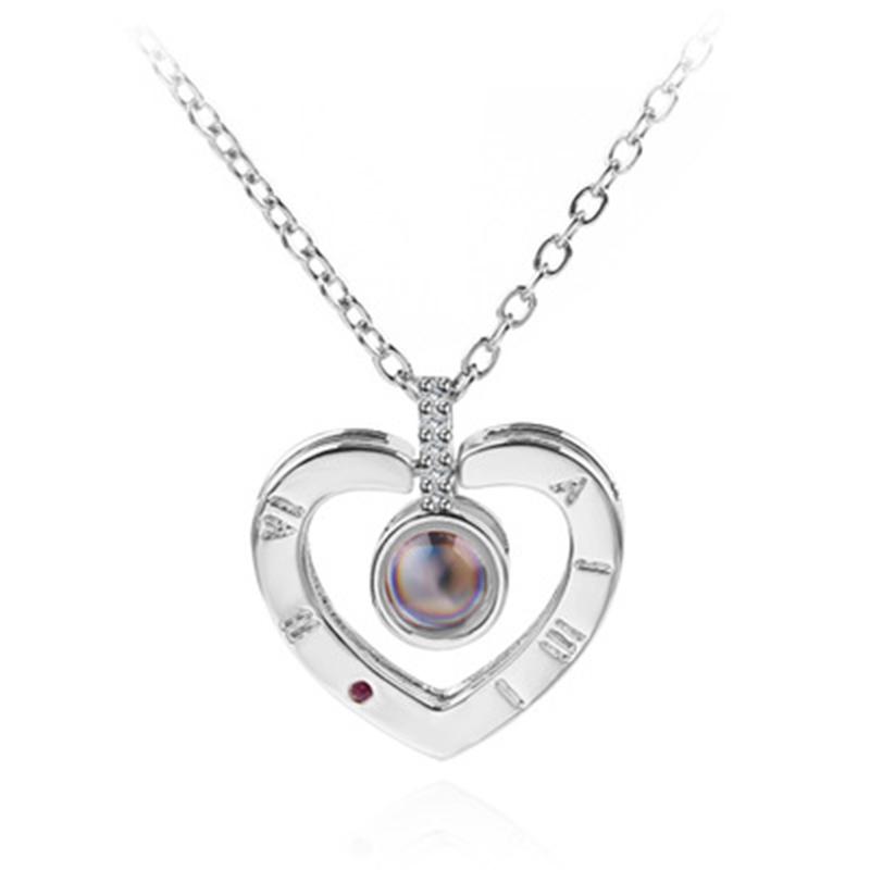 KINGSWAY 925 Стерлинговое серебро 100 языков I love you Проецирование кулон ожерелье Романтическая любовь памяти свадебное ожерелье