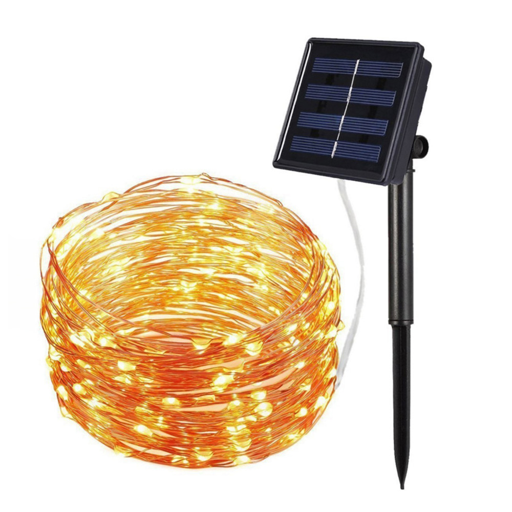 33Ft 8 Modes Holiday Lighting 100LED Copper Wire Waterproof Outdoor Solar String Lights For Christmas Decoration