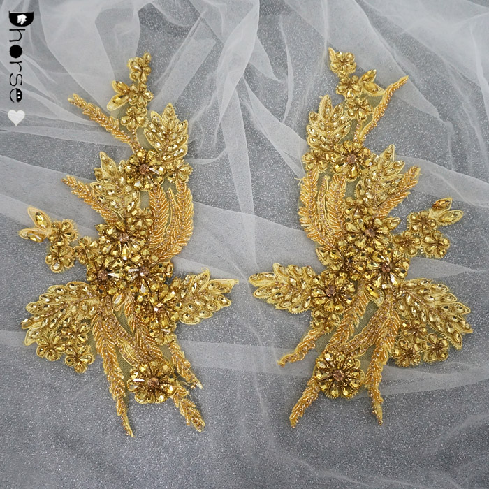 Sell in pair gold rhinestone applique crystal for bridal dress