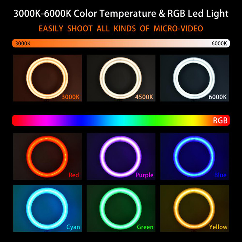 CPYP 14 inch MJ36 RGB soft ring light Circle Photography Lighting 16 colour Led RGB Ring Light with Phone Tripod Stand