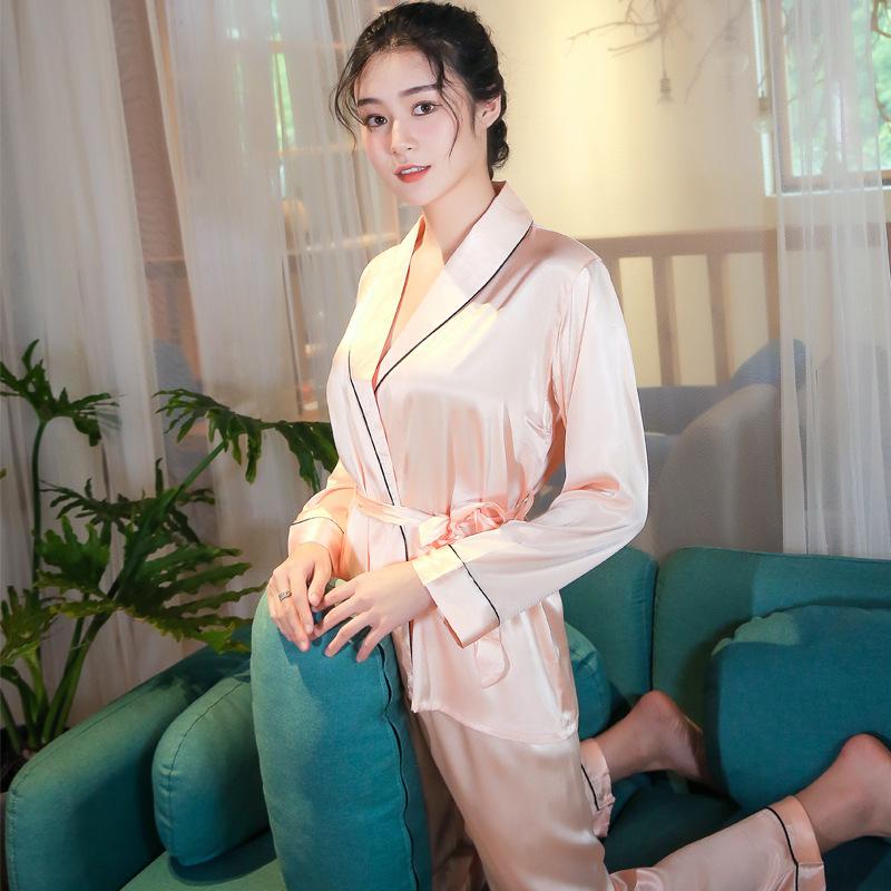 新 2019 女性の氷の絹のレースアップナイトガウンパジャマ、ツーピースパジャマ和風ローブ、シルクスタイルホームドレス着物