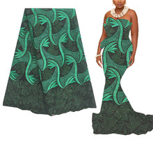 Светильник, фиолетовая нигерийская Свадебная африканская кружевная ткань, 5 ярдов, роскошная французская кружевная ткань, Белый Зеленый шв...(Китай)