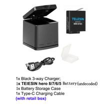 Telesin новые li декодирование батареи для gopro hero 8/7/6/5, Замена литий-ионная батарея, костюм для gopro hero 5 6 7 hero 8 черный(Китай)