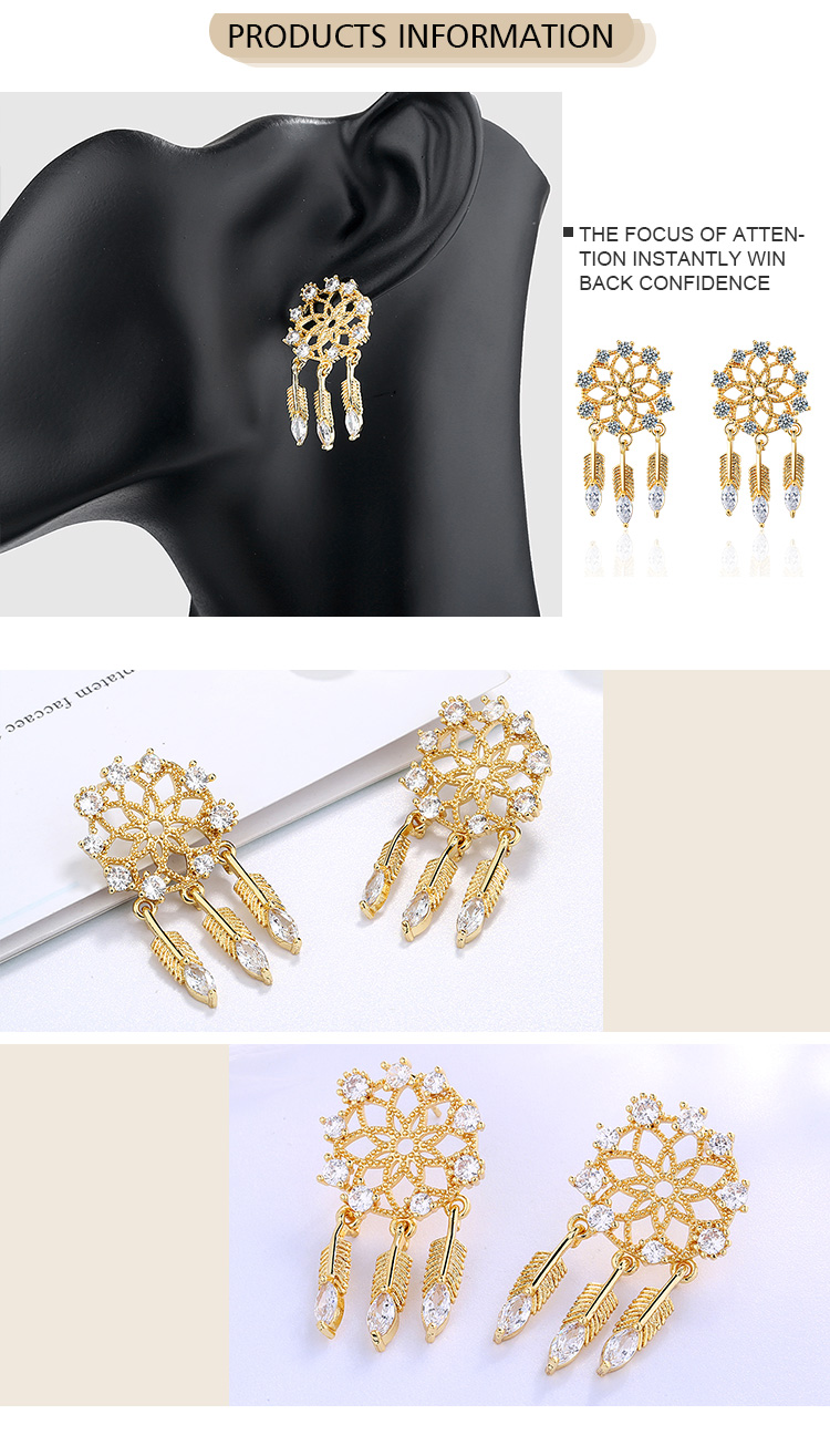 Fashion Jewelry Wholesale Vintage Style 24K Gold Plated Zinc Alloy Snowflake Stud Earrings For Girls