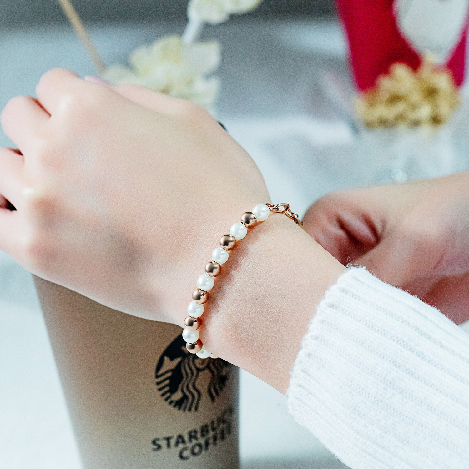Trendy Stainless Steel White Women Pearl Bracelet