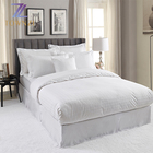 Wholesale 4PCS satin cotton white 300tc king size grid design Hotel Bedding Set