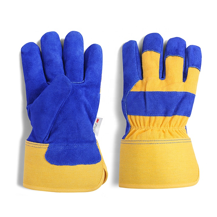 Custom cut protective high quality cow split leather heavy duty winter construction work gloves price