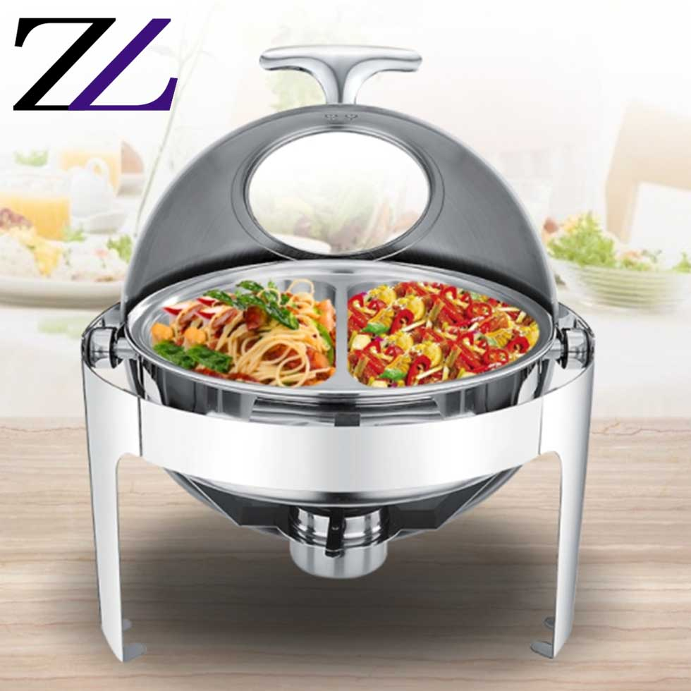 High standard multifunctional ethanol gel fuel round roll top hot pot food warmer set portable liter food warmer for catering